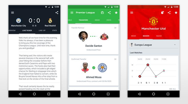 تطبيقات كرة القدمأفضل تطبيقات اندرويد لمتابعة نتائج و اخبار كرة الفدم